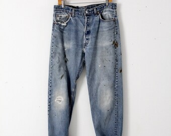 vintage 501s, Levis 501 denim jeans, distressed painter jeans, 34 x 32