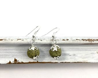 Olive green lava essential oil diffuser earrings