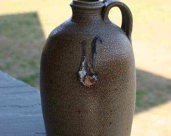 Salt Glazed Pottery Jug with Melted Brick Seagrove NC