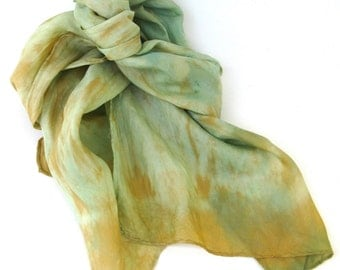 SALE   ...  mossy  green   ...   hand dyed silk scarf