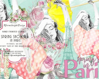 Spring Showers Clipart, Summer Clipart Watercolor Fashion Illustrations Eiffel Tower Paris Umbrella Boots Roses Planner Supplies