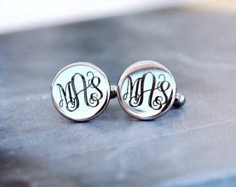 Personalized Stainless Steel Circle Cufflinks Custom Engraved  - Monogrammed Cuff Links - Groomsmen Gifts
