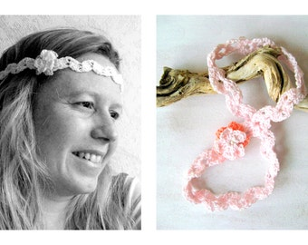 Headband crochet with flower rose colors