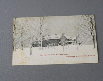 Vintage 1906 Postcard Post Card Black and White Maple Shade Inn in the Snow Pulaski VA