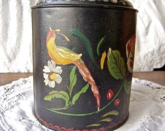 Vintage Kitchen Tin Hand Painted Signed Canister Collectible Tin Coffee Tin Black Kitchen Vintage 1950s