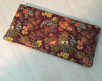 Checkbook Cover Cloth Trendy Asian Pagoda Floral Print