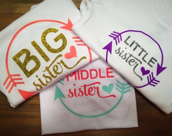 Big, middle or little sister shirt