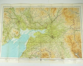 Solway Firth map, large vintage map of the Solway, Vintage Bartholomew's map, map poster