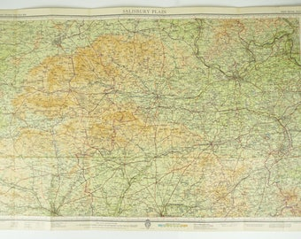 Salisbury Plain Map. Vintage Map of Salisbury Plain, England. Large Bartholomew's Map