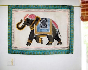 Elephant Silk Painting,Wall Tapestry, Wall Hanging by the Old Silk Route