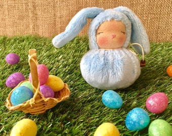 Little Light Blue Waldorf Bunny - Easter Rabbit