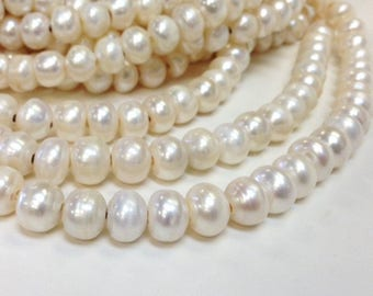 9 to 10 mm Large Hole Freshwater Pearl Button Beads - White 2.1 mm hole (G0714NW45-BR)
