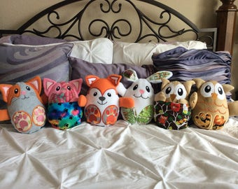 Adorable peekaboo animals, pillow pals, plush stuffed owl, bunny, fox, wolf, puppy, pig, hedgehog and more