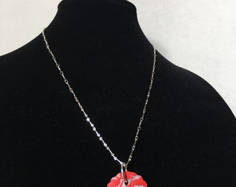 Red & Silver Circle Pendant