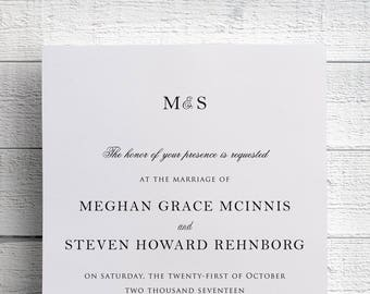 Simple Wedding Invitations, Black and White Invites, Elegant Wedding, Traditional Wedding, Formal, Black Tie, Monogram, Classic