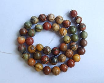 Multi-Color Picasso Jasper Gemstone Loose Bead,1Strand,42cm In the Lenght,10x10mm,57.24g(b0492)