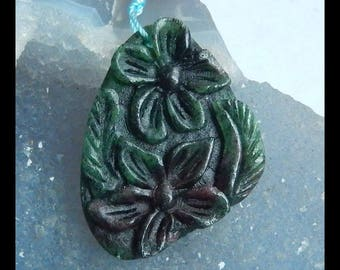 Carved Ruby And Zoisite Gemstone Flower Pendant Bead,40x30x5mm,9.66g(e0655)
