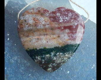 Natural Ocean Jasper Gemstone Heart Pendant Bead,35x34x8mm,15g(e0696)