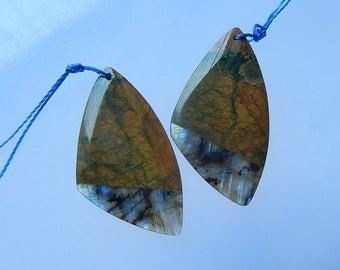 Natural Labradorite,Rainforest Jasper Intarsia Gemstone Earring Bead,40x22x4mm,8.8g