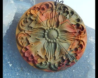 New Design,Carved Multi-Color Picasso Jasper Flower Pendant,50x50x4mm,17.4g