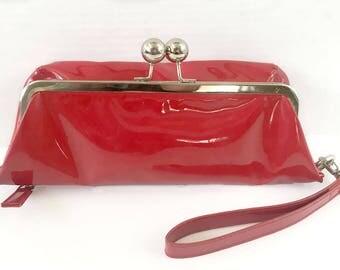 Red Foldover Purse, Red Handbag Clutch,  Retro Patent Leather Foldover Clutch,  Patent Leather Purse, Foldover Purse, Red Evening Bag
