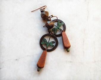 Dragonfly Earrings, Copper Earrings, Rustic Earrings, Patina, Boho Earrings, Bohemian, Long