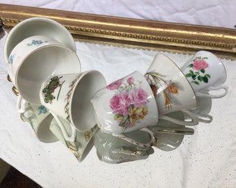 Mismatched Cups, Vintage espresso cups, mixmatch china teaset, tea party cups, six mismatched teacups, bridal shower