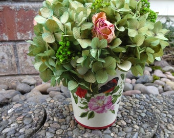 Hydrangea Arrangement  Floral Arrangement  Easter Gift  Mothers Day Gift  Preserved Hydrangeas  Bird Vase  Dried Roses