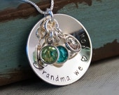 Grandma We Love you with Birthstones - Personalized Grandma Necklace - Hand Stamped Necklace - Sterling Silver