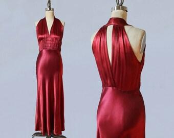 RESERVED 1930s Dress / 30s Liquid Satin Gown / CUTOUT BACK / Deep Red Satin Maxi Gown / Bias Cut / Ultra Flattering