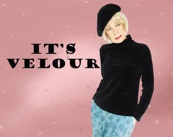 Black Velvet Turtleneck Sweater - Vintage Stretch Velour - 90s Clifford & Wills - M