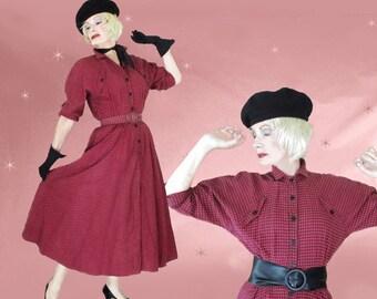 50s Style Shirtwaist Dress - Vintage Cotton Flannel Midi - 80s Dolman Sleeves - Retro Big Skirt - Rockabilly Look