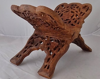 Vintage Handmade Wooden Book Stand Spiritual Book of Shadows Cooking