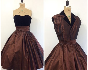 Vintage 1950's Bronze Black Velvet Strapless Formal Dress 50's Minx Modes Party Dress