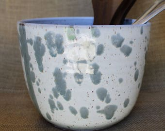 Wheel thrown splattered planter or utensil holder, speckled stoneware