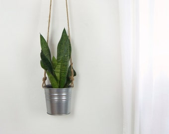 Hanging Planter in Natural Beige and Gray Galvanized Metal For Succulent | Plant Holder, Pot, Hanger | Modern Decor | Unique Gift Ideas