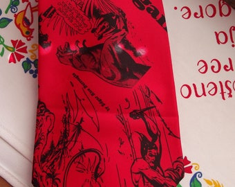 Vintage Red Neck Tie - Necktie - by Edgar Rice Burroughs - Red Tie - Has Italian text and great artwork