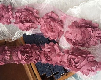 3D Shabby Rose Trim Rosy Purple Chiffon Camellia Flower Lace 2.55 Inches Wide 14pcs Flowers