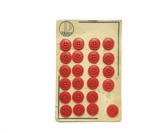 23 Red Buttons, Vintage, Antique French Card