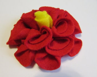 Add a Felt Flower with yellow center to any Sleep Mask or Neck Wrap- Red