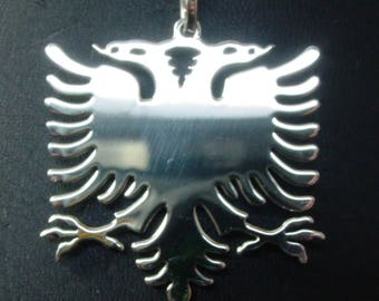 """albanian eagle,  2"""" size -1mm thick  . with a loop for 6mm chain  .sterling silver. Rhodium  plated. eag12"""