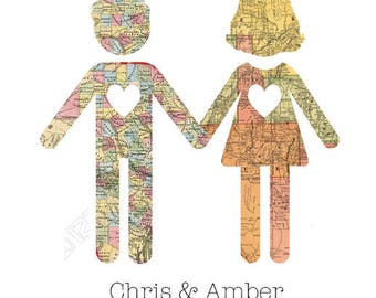 Customized Map Print with Heart or Couple Silhouette from Curious London