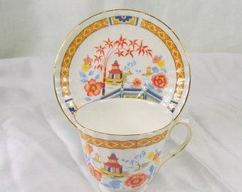 ON SALE Vintage Duchess England Bone China Teacup and Saucer Asian Pagoda Orange Flowers Gold Trim