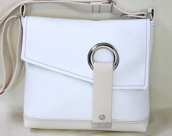 Stella Crossbody messenger bag, courier bag, commuter bag in Snow White and Cream
