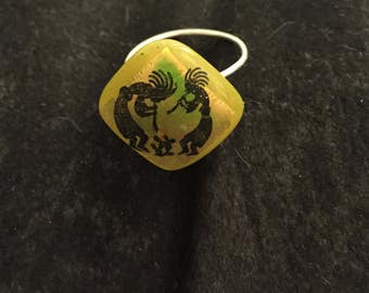 Yellow and silver glass kokopelli ring, Ooak, size 6.5
