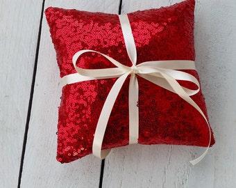 Sequin ring pillow, ring bearer pillow, red sequin wedding, red ring bearer, red pillow,sequin wedding