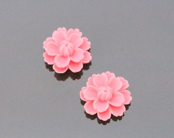 Rose Pink Resin Wild Flower Flat Back Cabochon, Resin Flower Embellishments, Jewelry Making Supplies, KH32184
