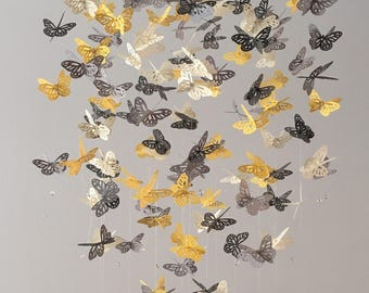 Butterfly mobile, Monarch Butterfly Chandelier Mobile in yellow, cream and gray, nursery mobile, baby mobile, baby shower gift