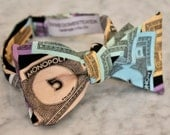 Monopoly Money Bow Tie for Men or boys - clip on, pre-tied with strap, self tie Bow tie - Perfect Gift