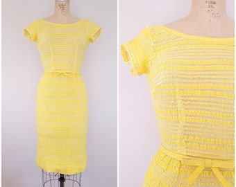 NEW! Vintage 1950s L'Aiglon Wiggle Dress / Yellow Netted Dress / Fitted Dress / XS